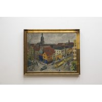 "Hans Bendix Pedersen ""Town scape with tram cars"" Oil on Canvas"